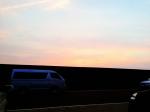 能生漁港での夕焼け
